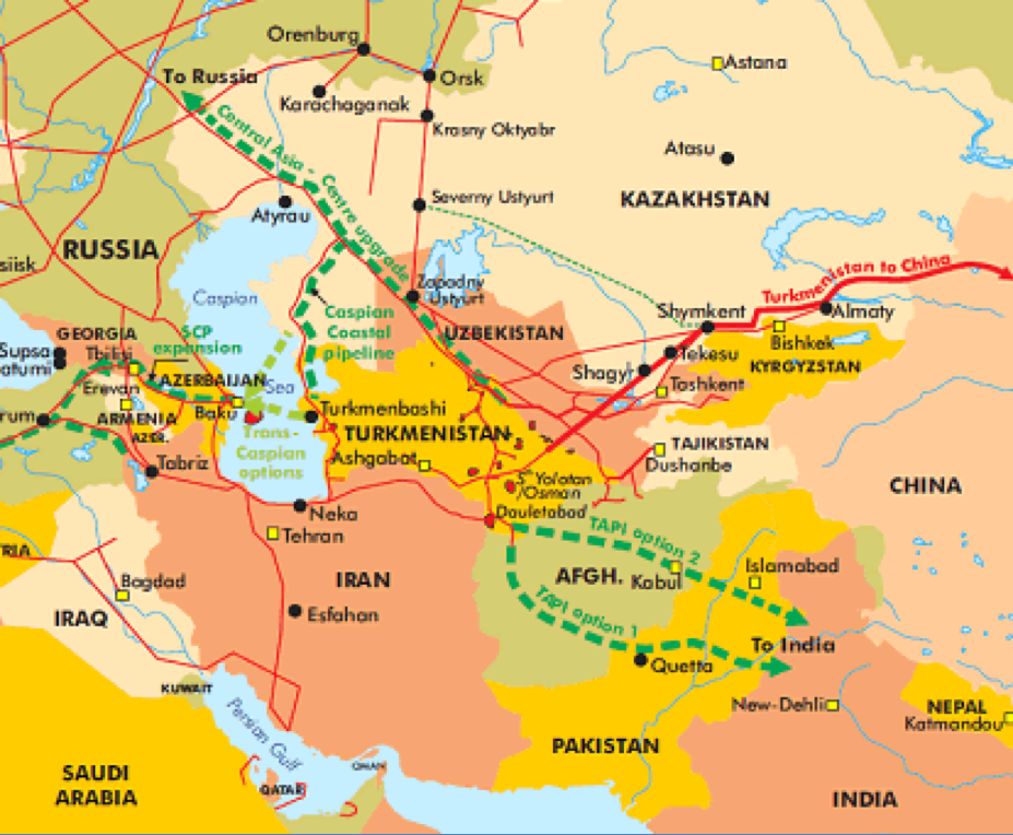 Present and Prospective Gas Pipelines from Turkmenistan (EADaily, 2017)